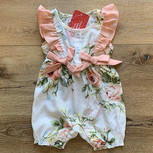 Floral Ruffle Summer Onesie White/Peach NWT